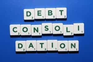 Debt Consolidation Loan spelt out with scrabble letters