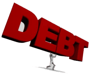 Debt Management Loans man carrying large debt word in red letters