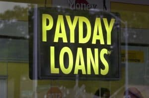 Pay Day Loans shop illuminated window sign