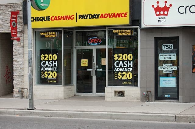 Payday Loan No Credit Check shop front