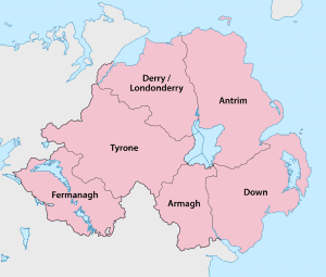 Bad Credit Loans Northern Ireland map showing the 6 counties