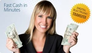 Emergency Cash Loans For Unemployed girl holding cash in both hands smiling