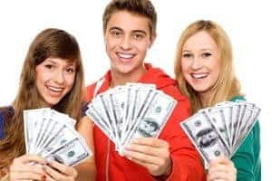 Flexy Loans boy and two girls holding cash in hands