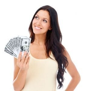 Get Fix My Finances Loans girl smiling with cash in her right hand