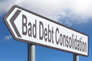 debt consolidation loan road sign